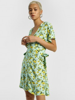 KOOVS Lemon Print Skater Dress