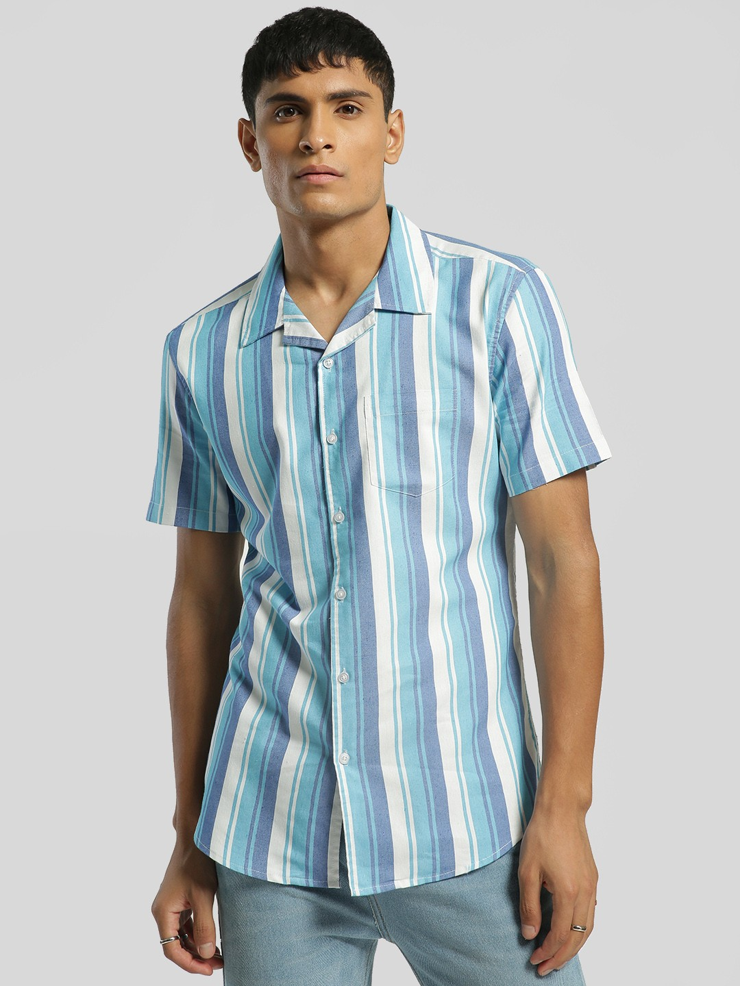 Spring Break Multi Vertical Stripe Cuban Collar Shirt 1
