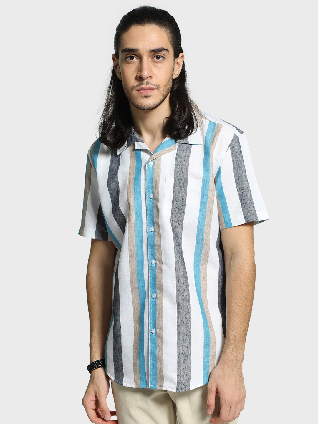 Spring Break Multi Multi Vertical Stripe Cuban Collar Shirt 1