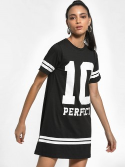 KOOVS Placement Print Stripe T-Shirt Dress
