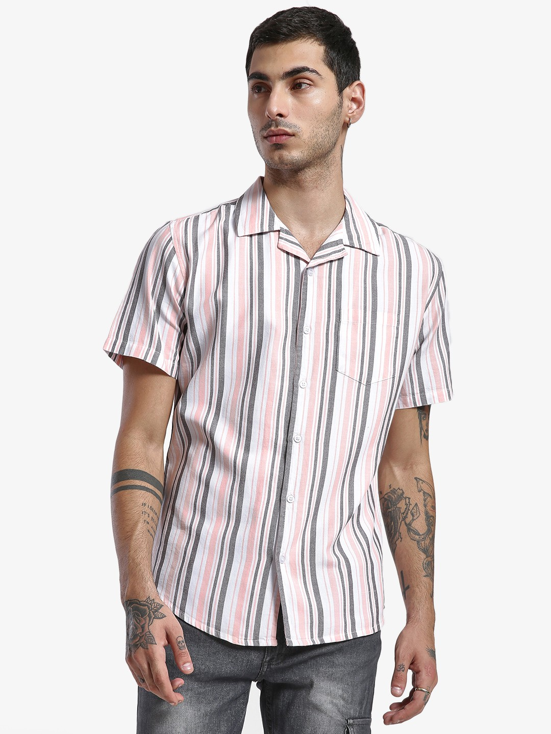 Spring Break Multi Woven Stripe Cuban Collar Shirt 1