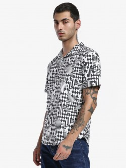Spring Break Checkerboard Print Cuban Collar Shirt