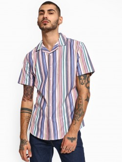 Spring Break Oversized Vertical Stripe Cuban Collar Shirt