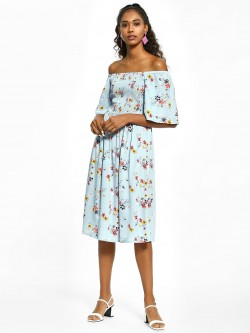 KOOVS Floral Print Shirred Off-Shoulder Dress