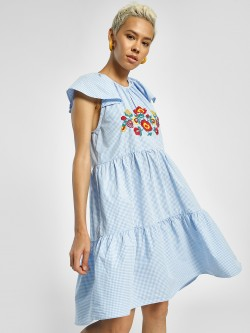 Sbuys Gingham Check Embroidered Shift Dress