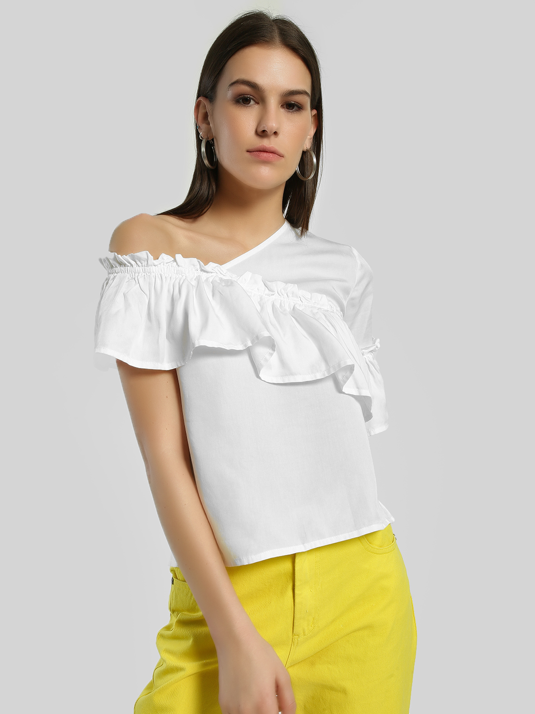 Sbuys White One Shoulder Frill Blouse 1