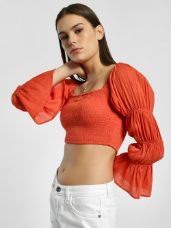 Sbuys Smocked Tiered Sleeve Crop Top