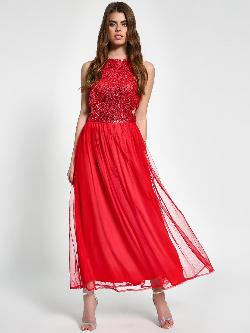 KOOVS Sequin Back Tie-Up Maxi Dress