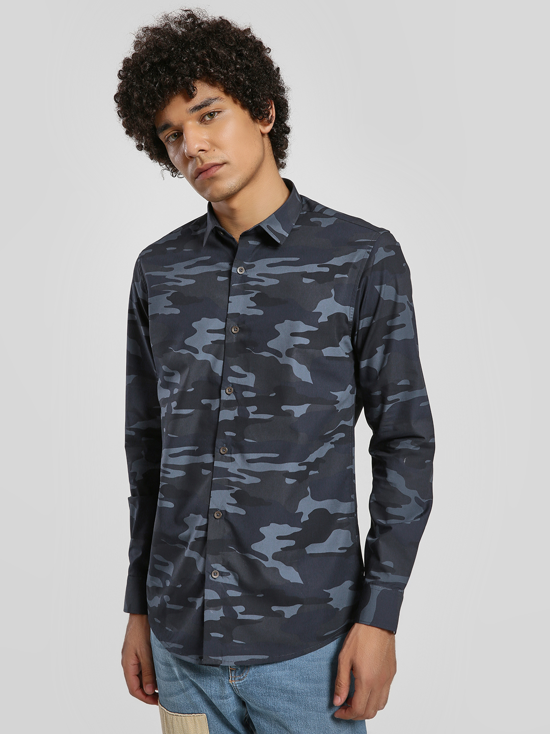Green Hill Blue Camo Print Long Sleeve Shirt 1