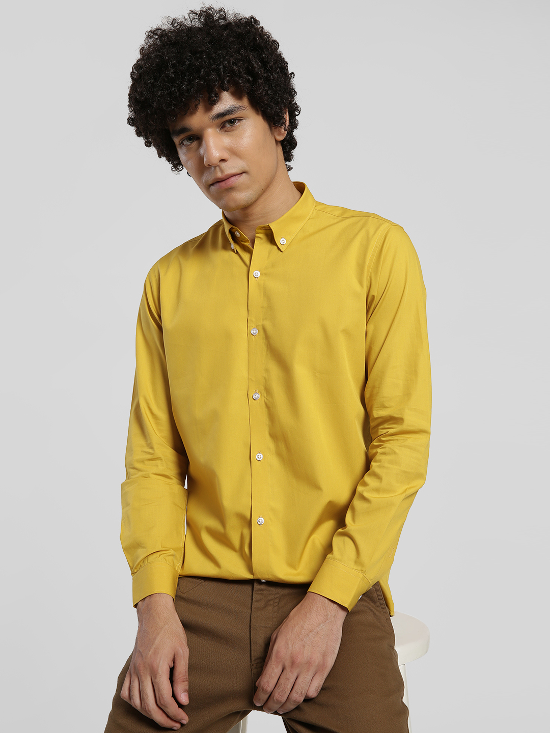 Green Hill Mustard Basic Long Sleeve Shirt 1