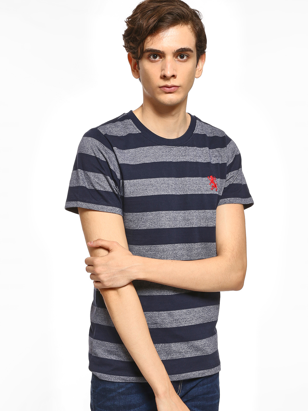 Giordano Blue Horizontal Stripe T-Shirt 1