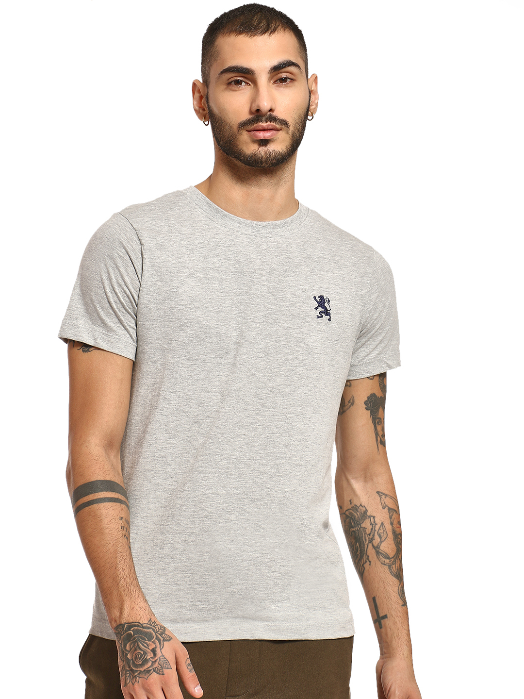 Giordano Grey Embroidered Logo Crew Neck T-Shirt 1