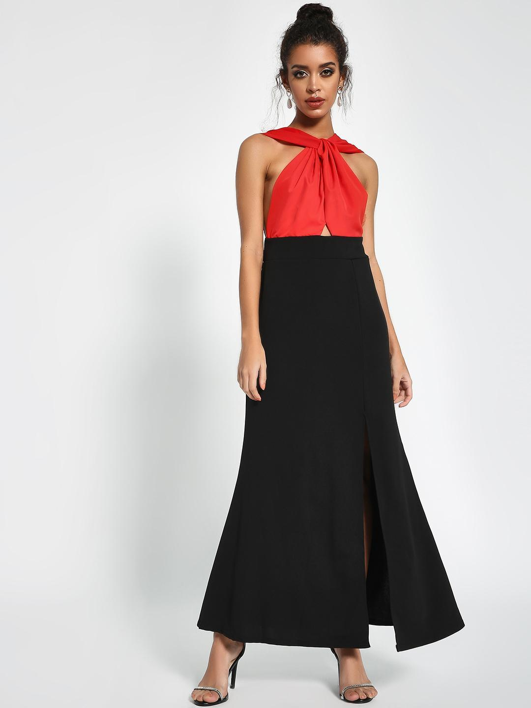 Origami Lily Red/Black Colour Block Maxi Dress 1