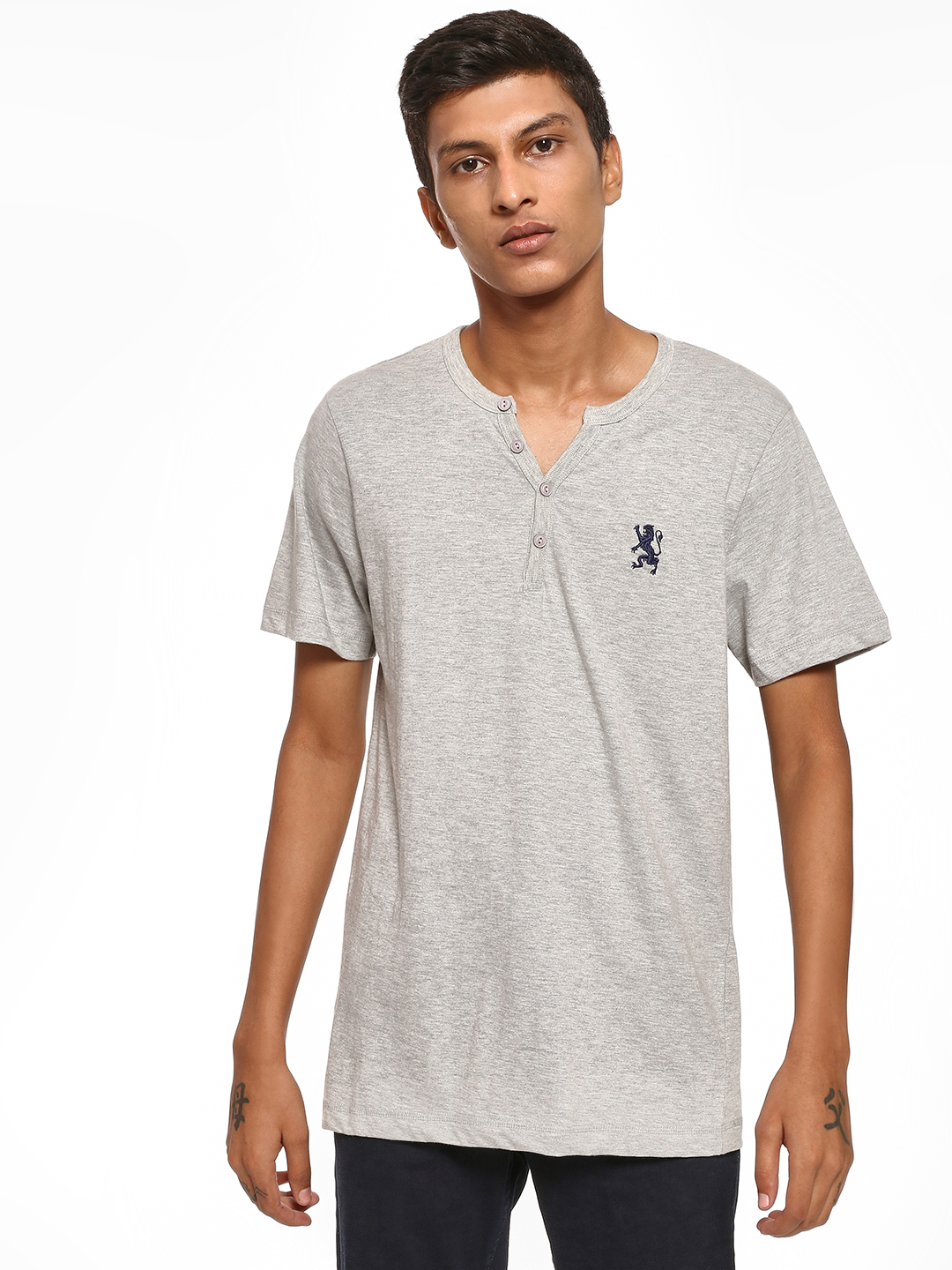 Giordano Grey Embroidered Logo Henley Neck T-Shirt 1