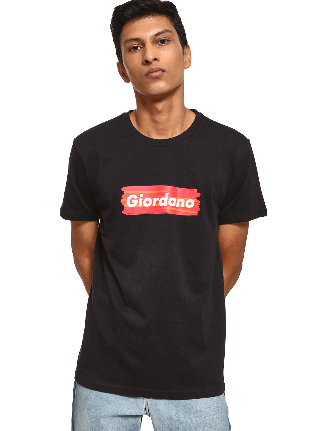 Giordano Black Logo Placement Print T-Shirt 1