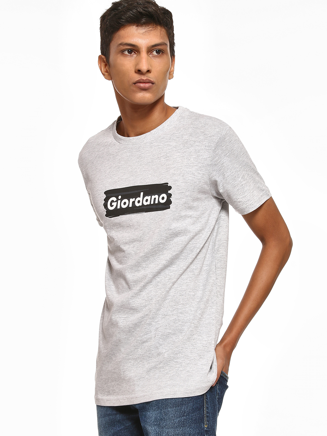 Giordano Grey Placement Print Melange T-Shirt 1