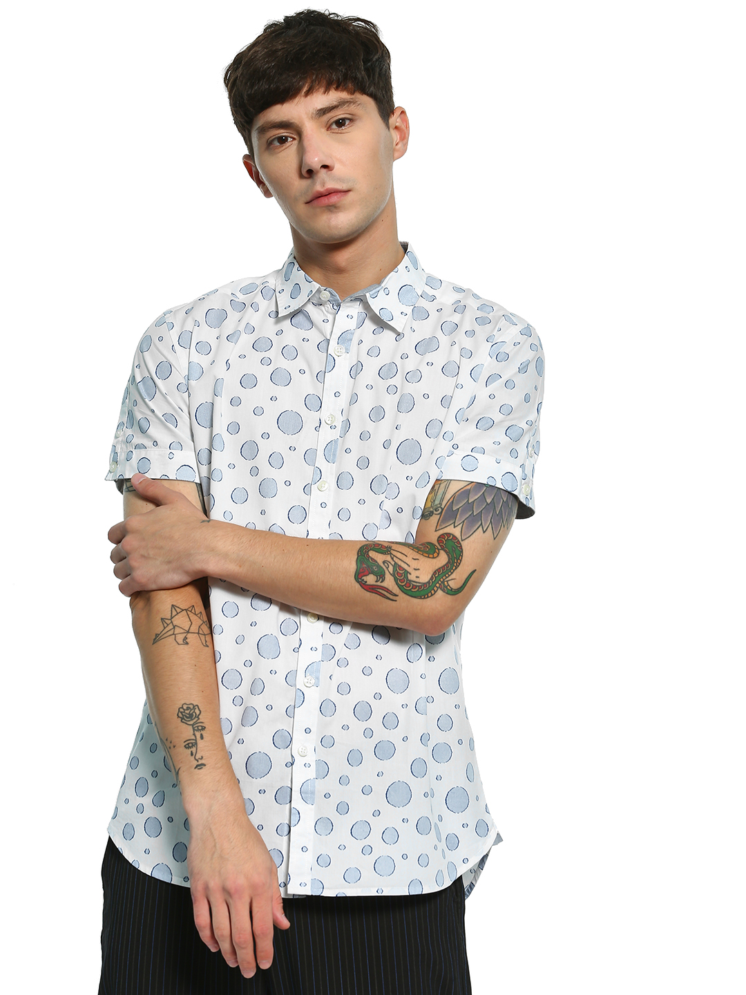 Kenneth Cole White Jacquard Circle Print Shirt 1