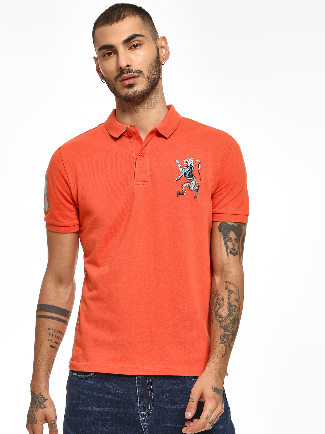 Giordano Orange 3D Lion Patch Polo Shirt 1