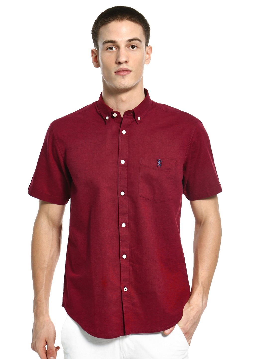 Giordano Maroon Linen Blend Short Sleeve Shirt 1