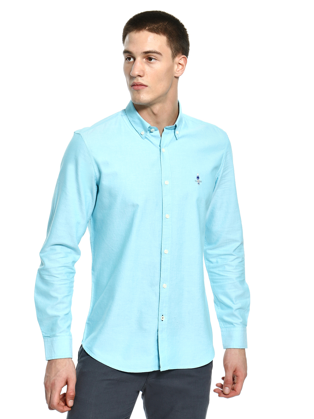 Giordano Blue Basic Oxford Long Sleeve Shirt 1