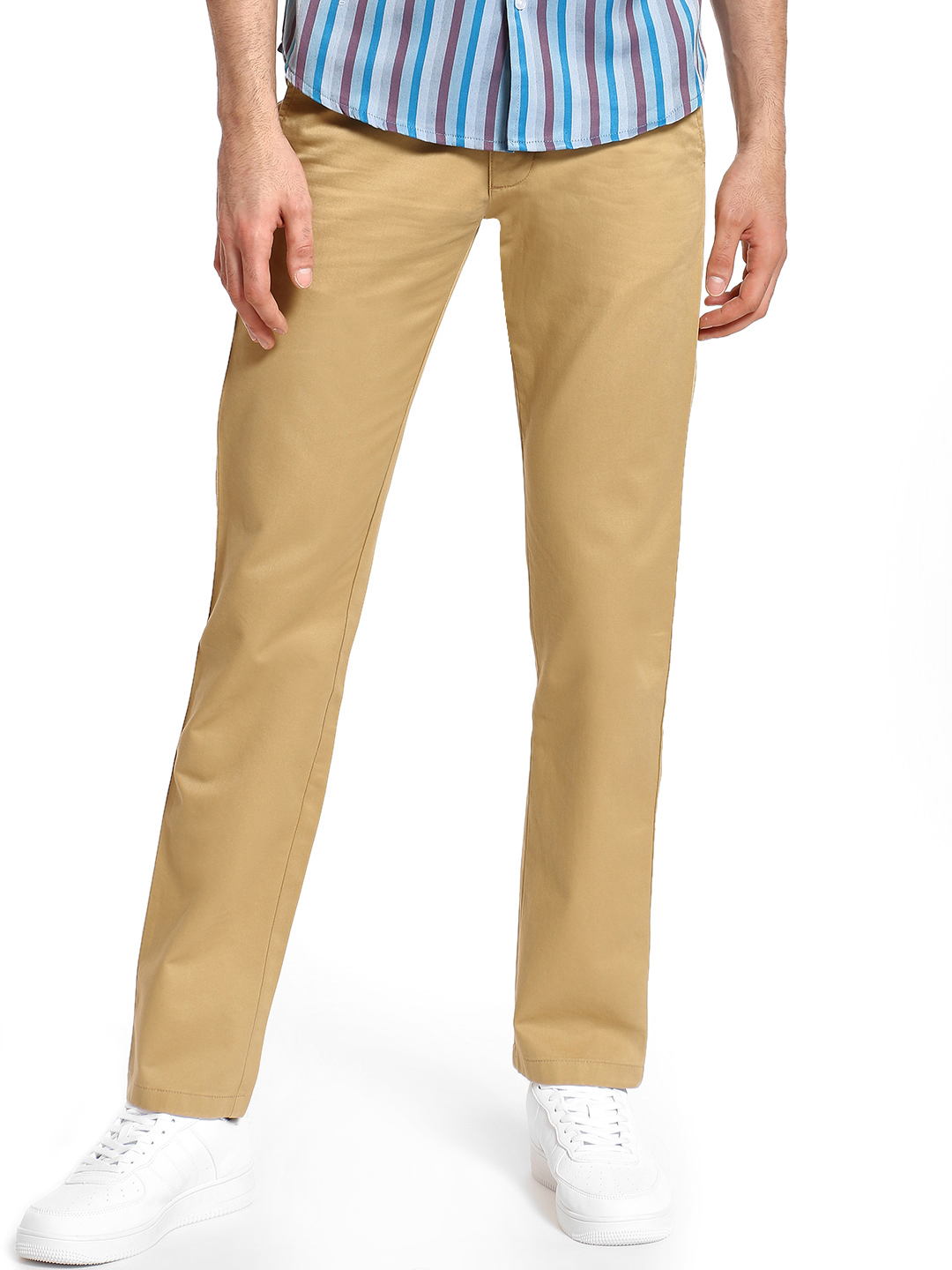 Giordano Beige Basic Slim Fit Trousers 1