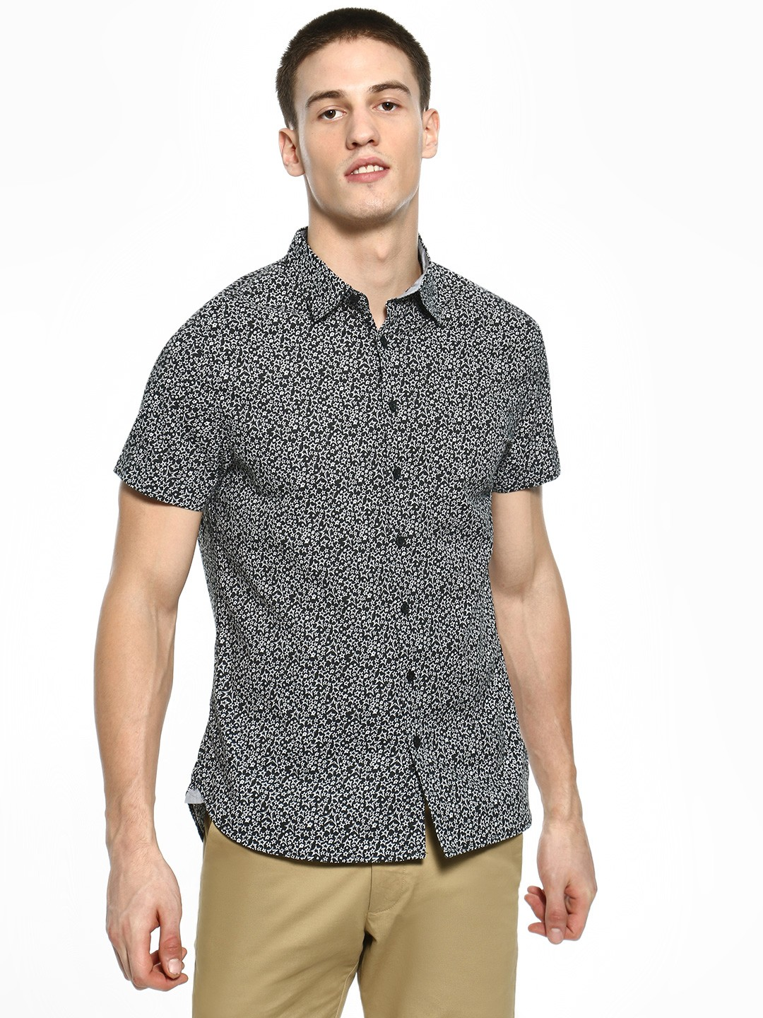 Kenneth Cole Black All Over Star Print Shirt 1