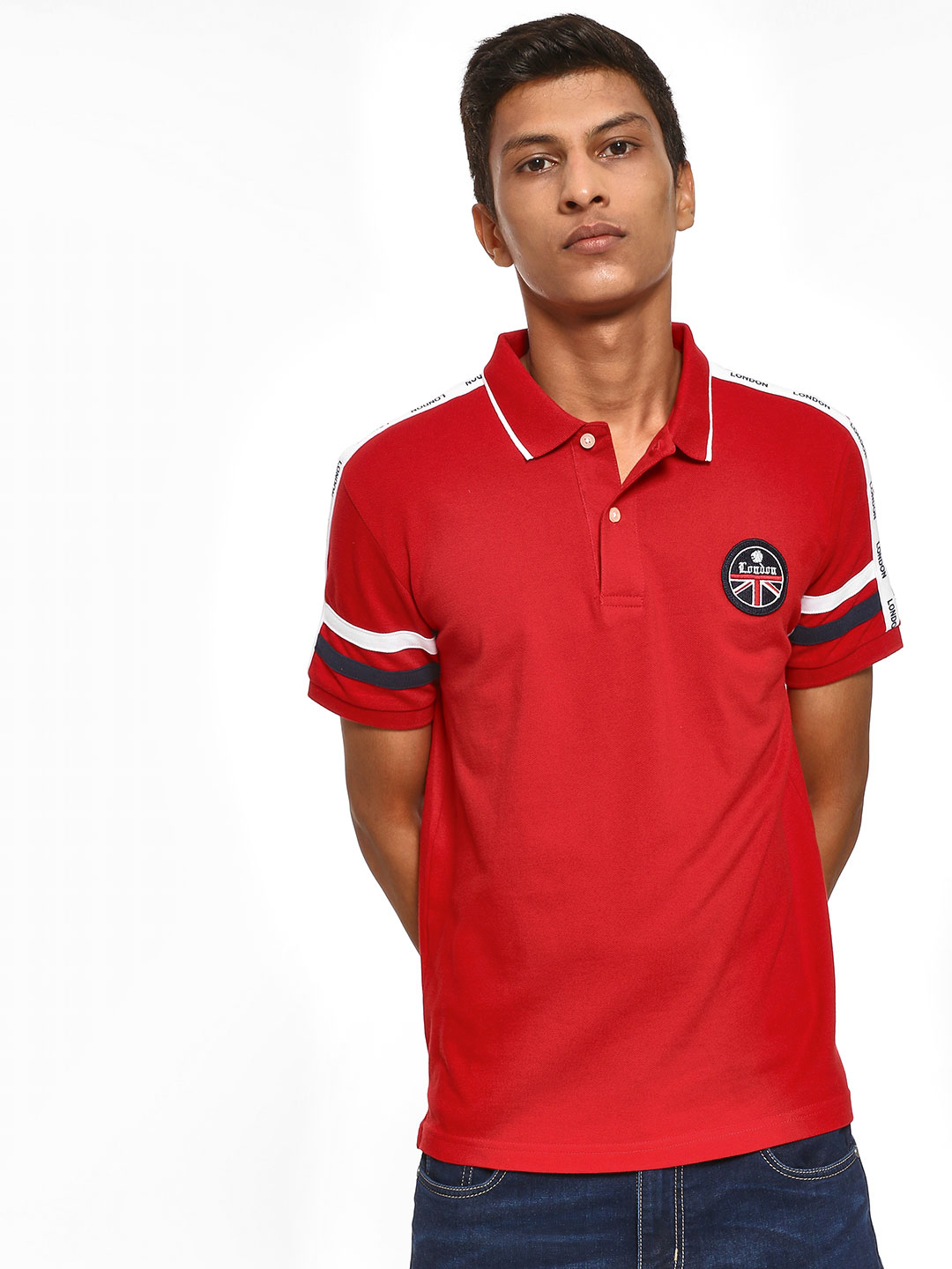 Giordano Red Text Print Shoulder Tape Polo Shirt 1