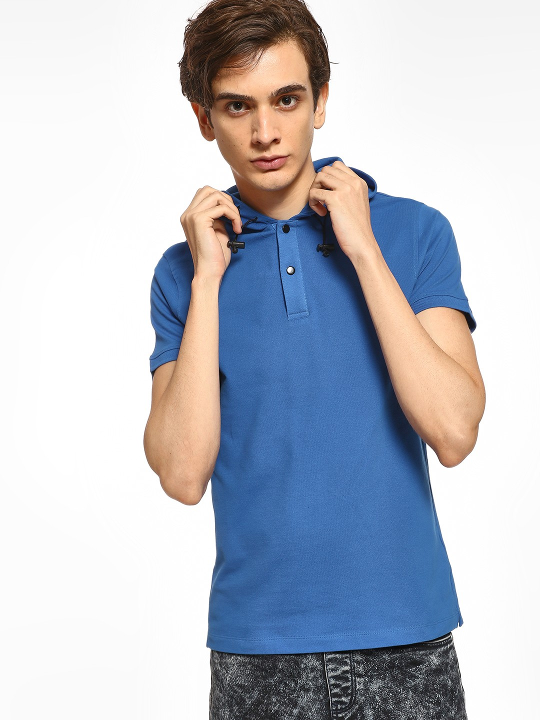 Kenneth Cole Blue Basic Pique Hooded T-Shirt 1