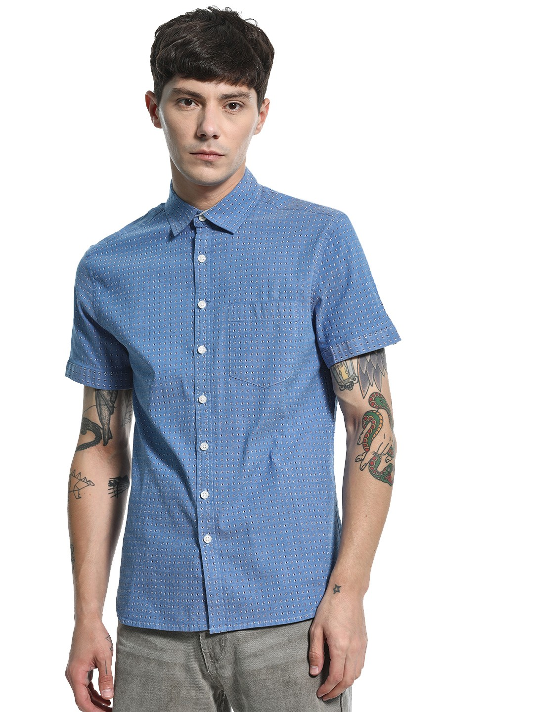 Kenneth Cole Blue All Over Print Chambray Shirt 1
