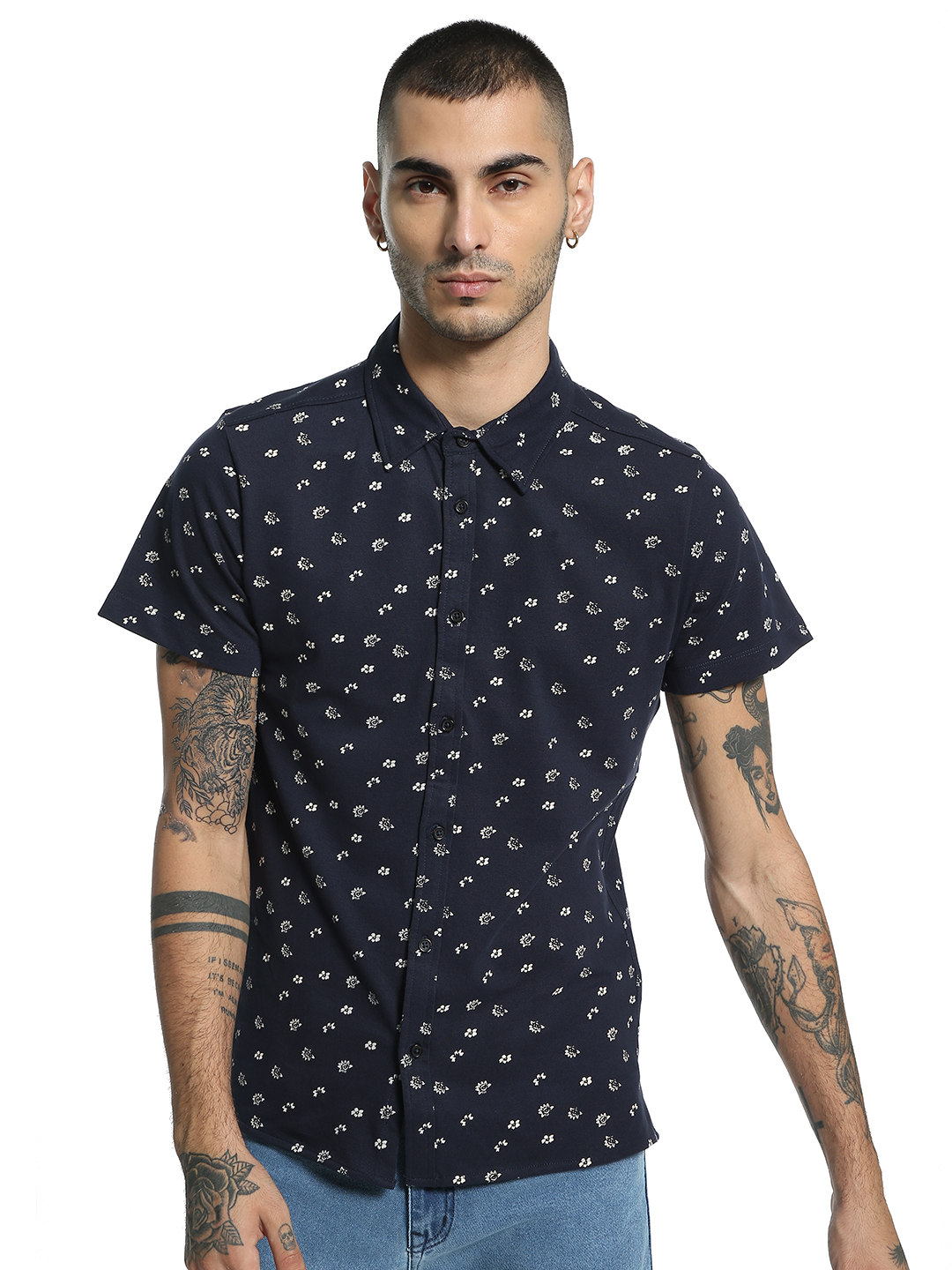 Kenneth Cole Navy Flower Print Knit Casual Shirt 1