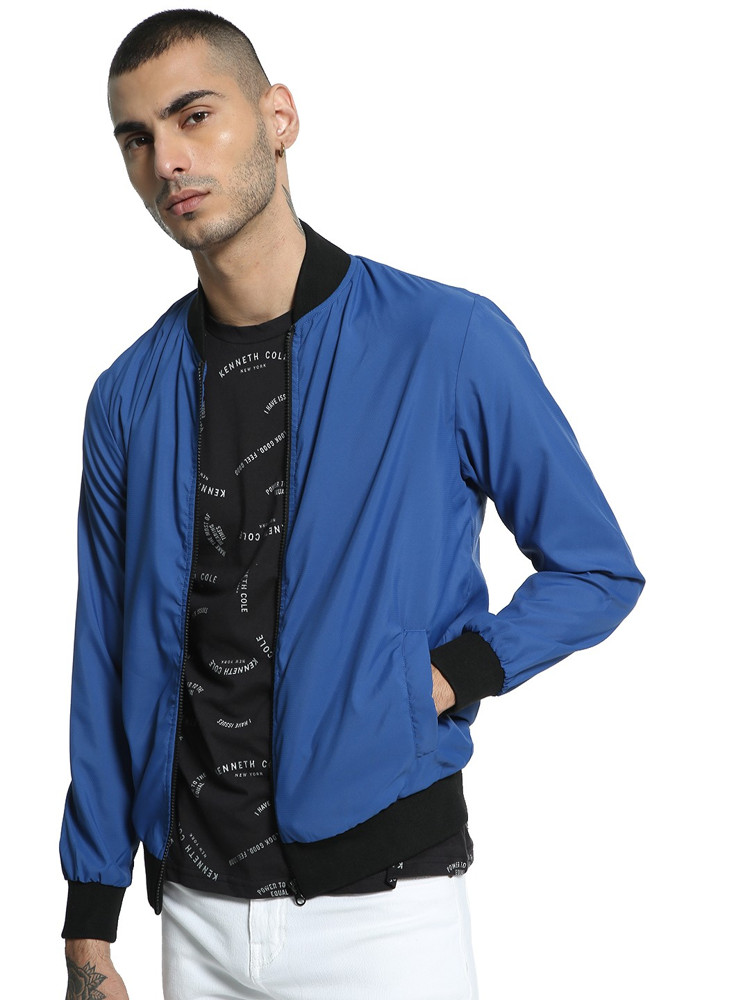 Kenneth Cole Royal Blue Tech Mesh Bomber Jacket 1