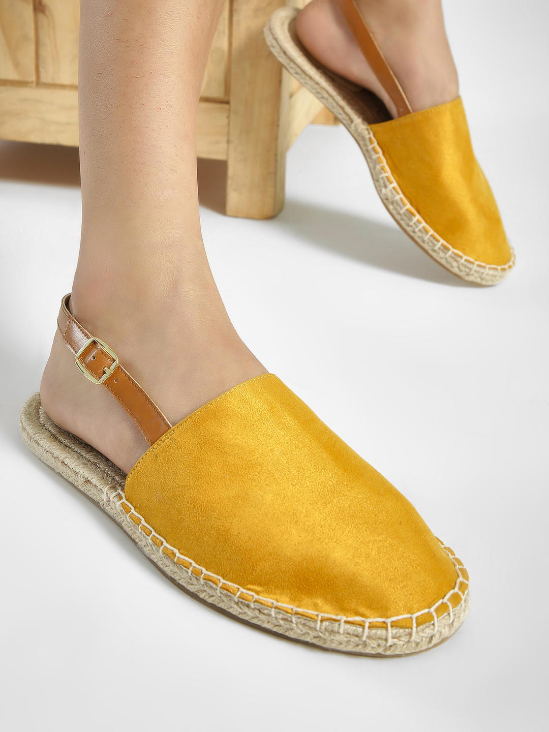 ILLIMITE Yellow Suede Espadrille Flat Sandals 1