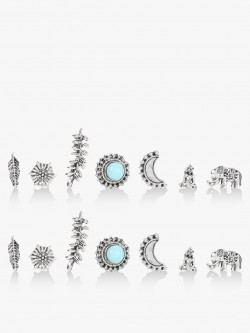 Style Fiesta Antique Stud Earrings (Set Of 7)