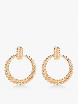 Style Fiesta Gold Textured Concentric Earrings
