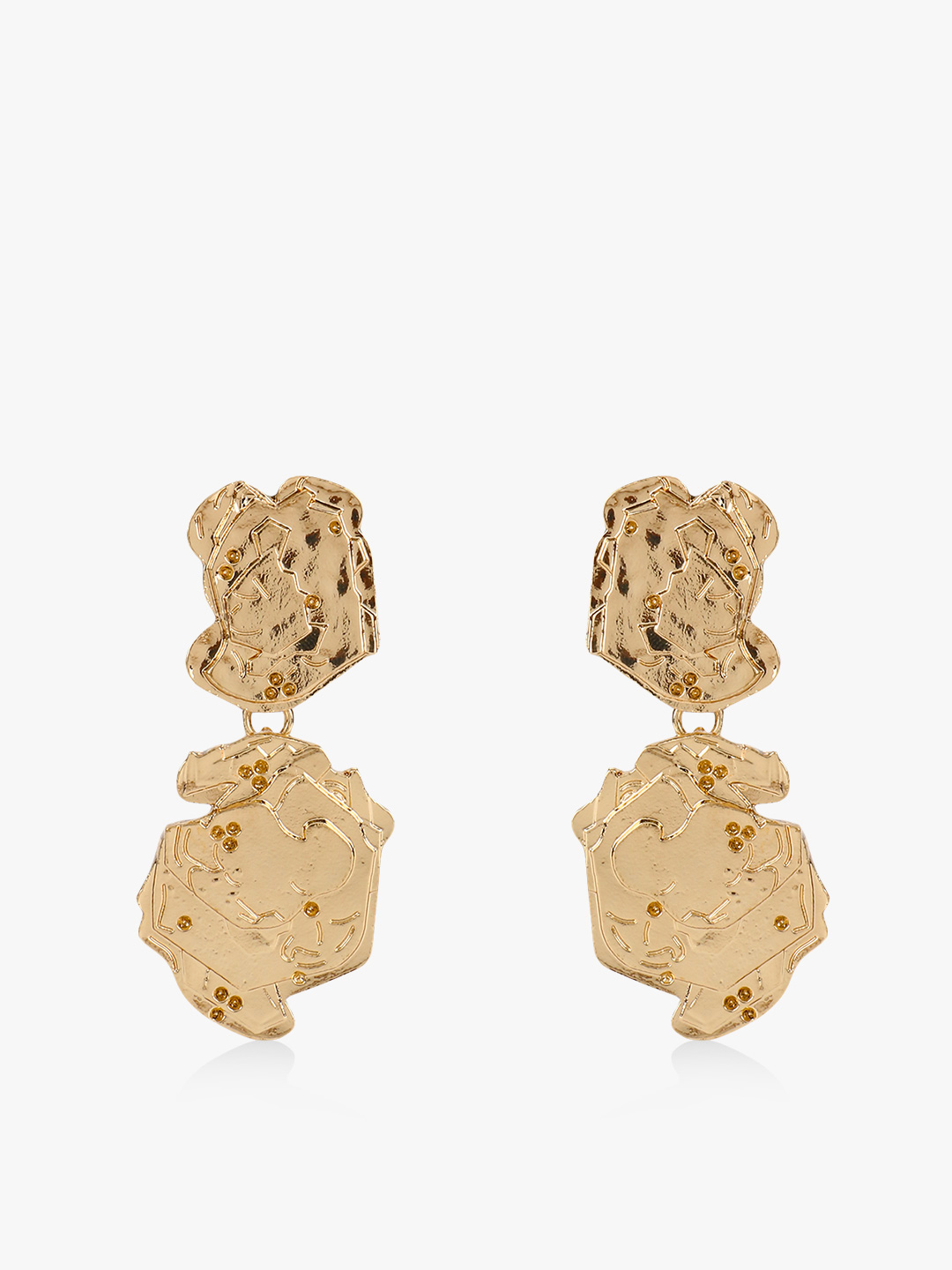 Style Fiesta Gold Gold Textured Abstract Earrings 1