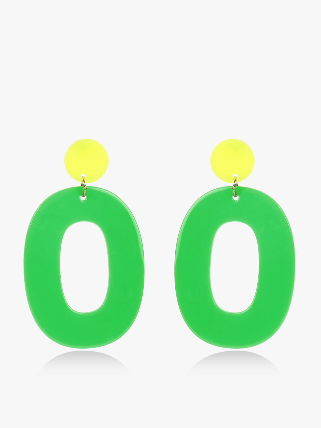 Style Fiesta Green Colour Block Geometric Earrings 1