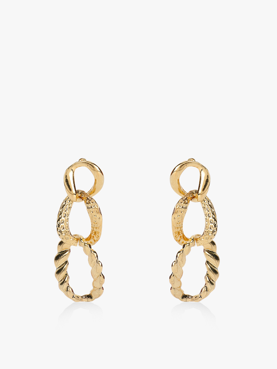 Style Fiesta Gold Textured Chain Detail Earrings 1