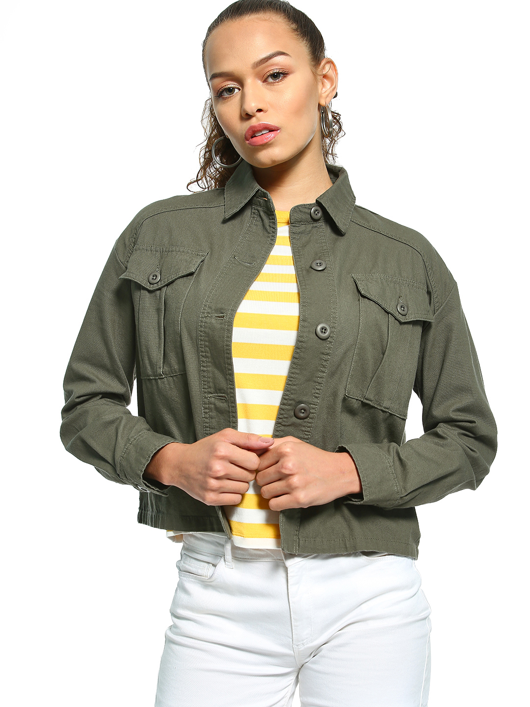 New Look Green Oversized Cropped Utility Shacket 1