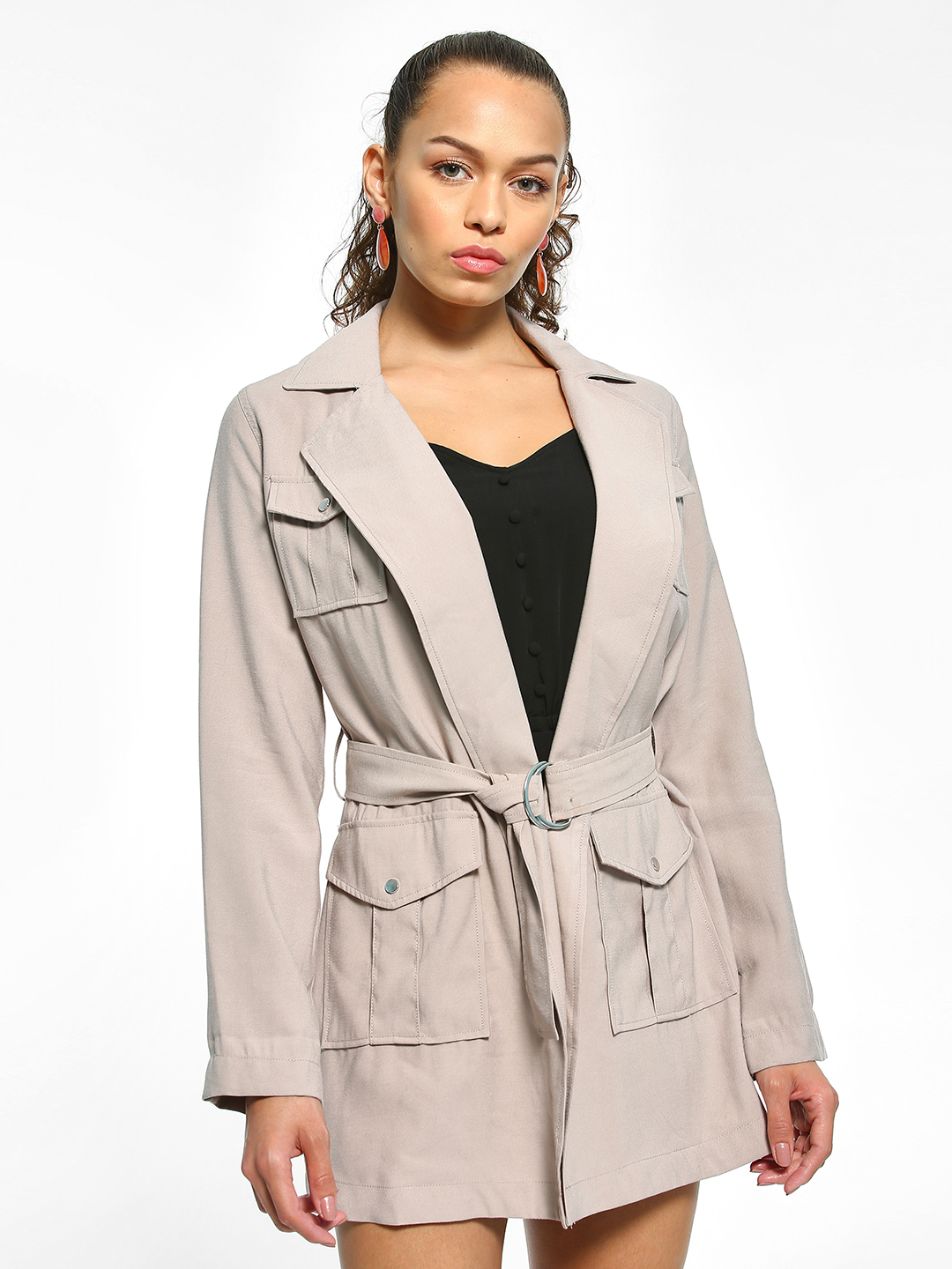 New Look Grey Utility Belted Longline Shacket 1