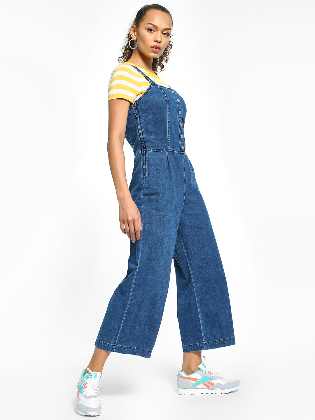 New Look Blue Popper Front Denim Jumpsuit 1