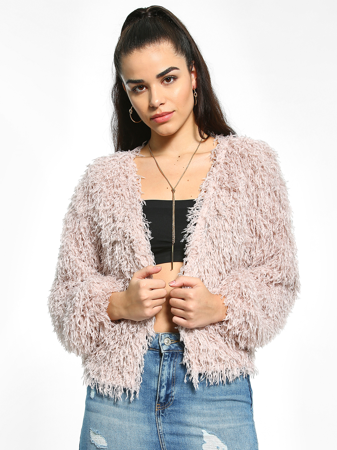 New Look Pink Fluffy Knit Cardigan 1