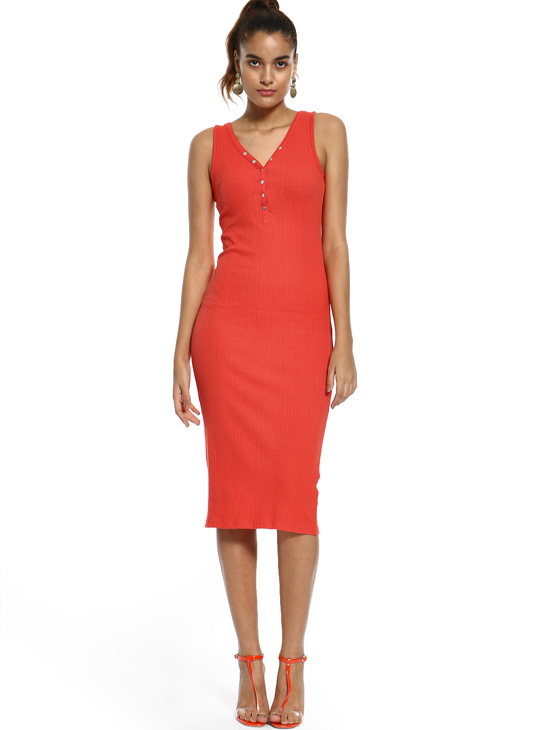 New Look Red Ribbed Bodycon Midi Dress 1