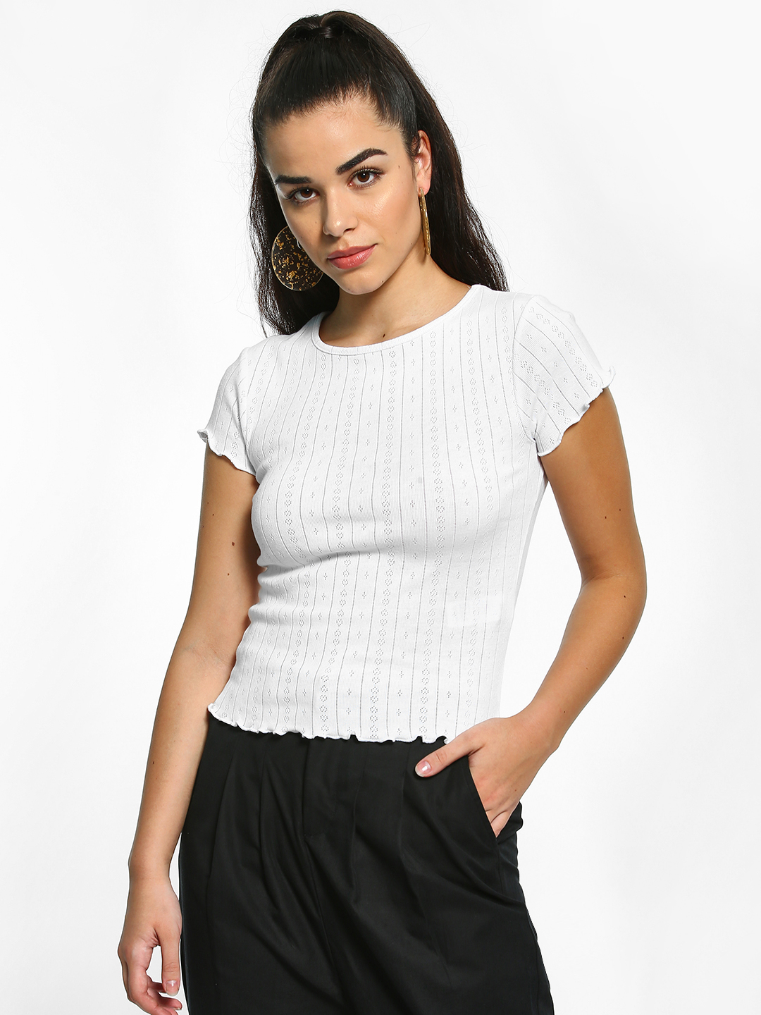 New Look White Ribbed Frill Trim T-Shirt 1