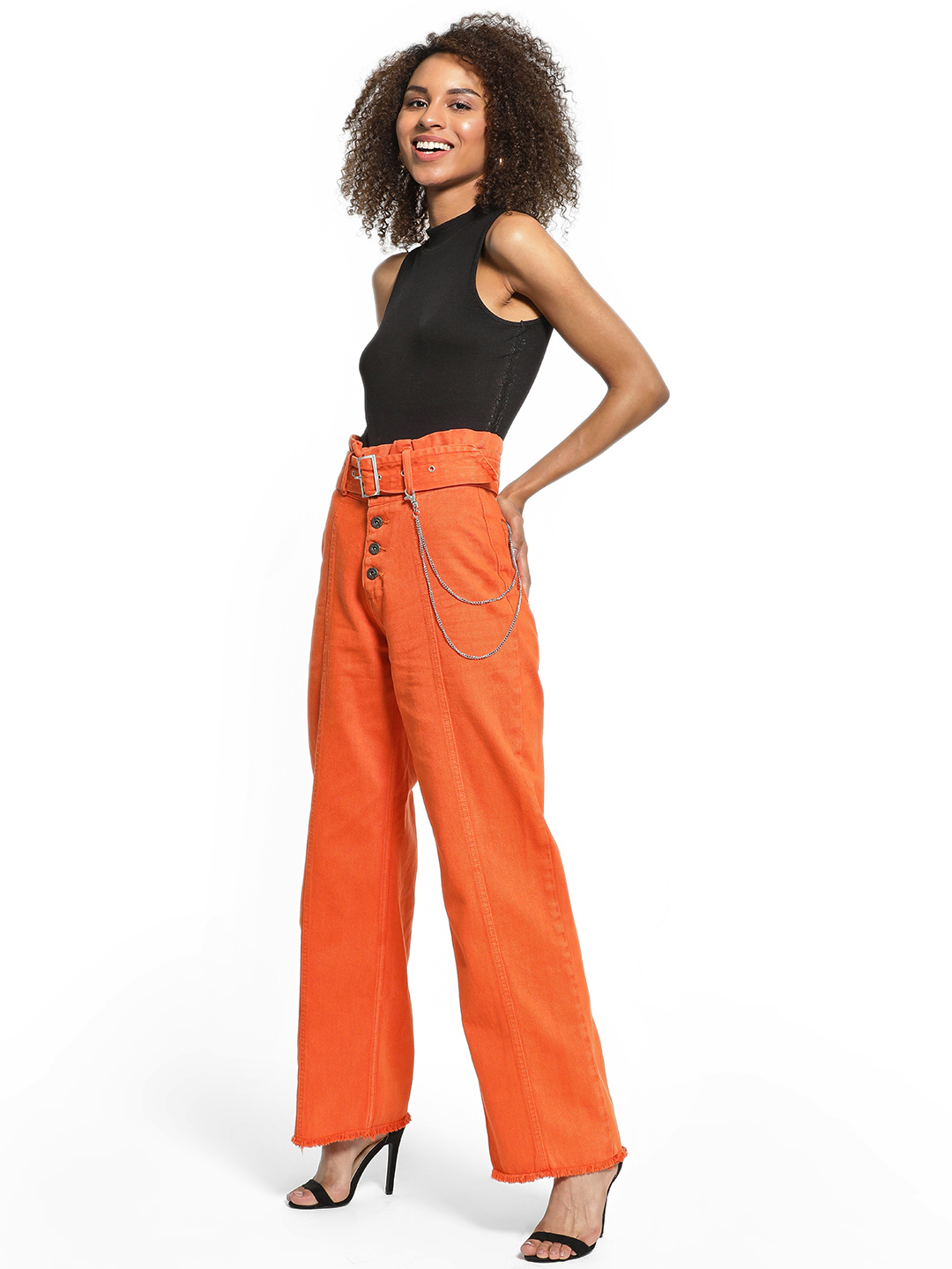 K Denim Orange KOOVS Paperbag High-Waist Flared Jeans 1