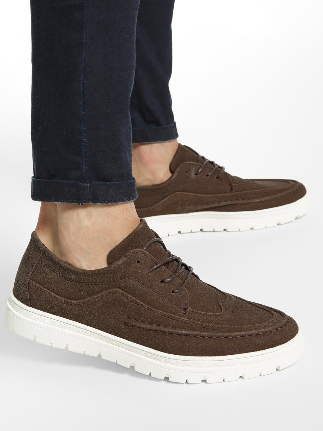 KOOVS Brown Brogue Punches Cleated Sole Shoes 1