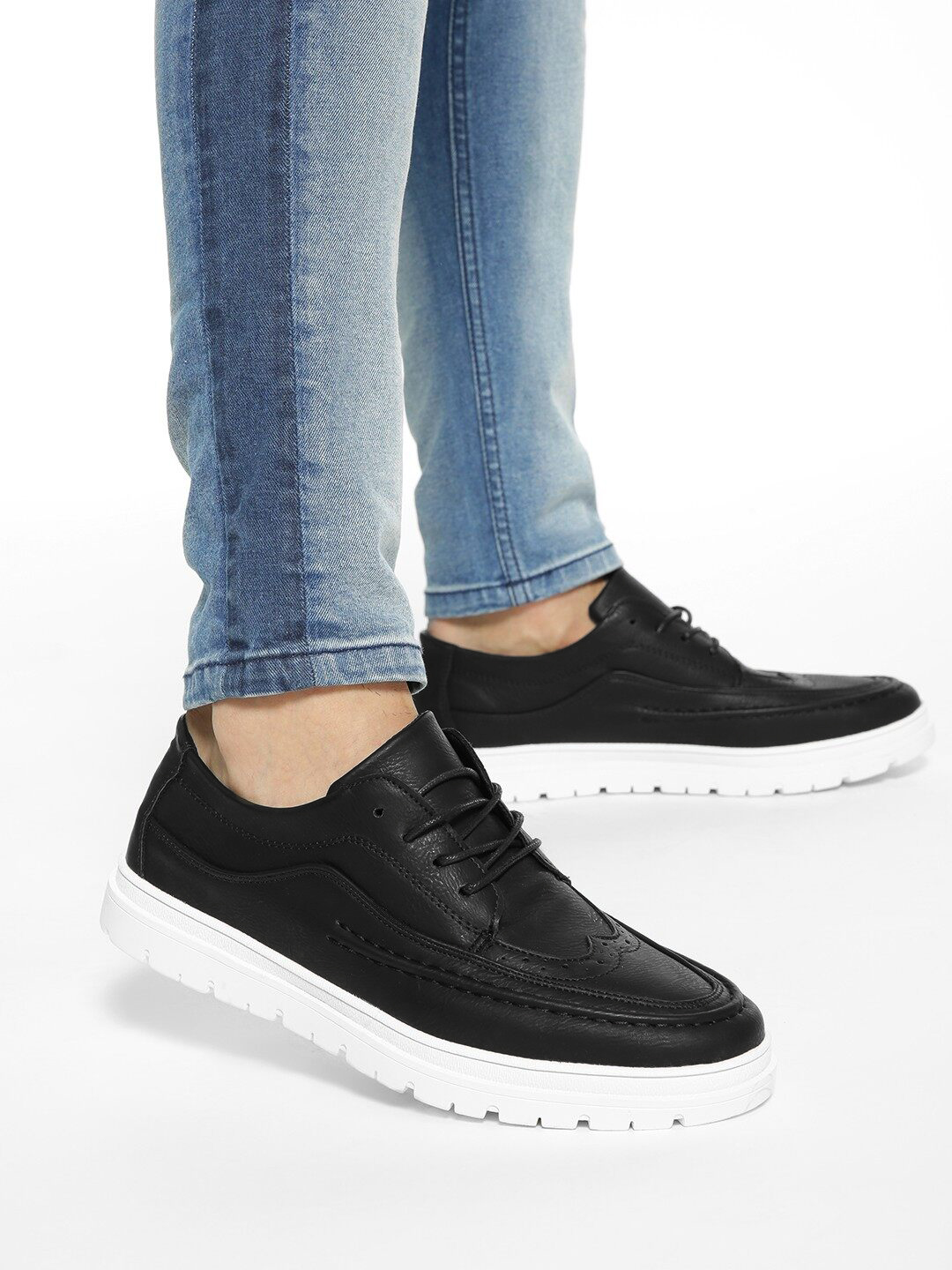KOOVS Black Brogue Punches Cleated Sole Shoes 1