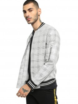KOOVS Houndstooth Check Bomber Jacket