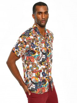 KOOVS Sticker Print Cuban Collar Shirt