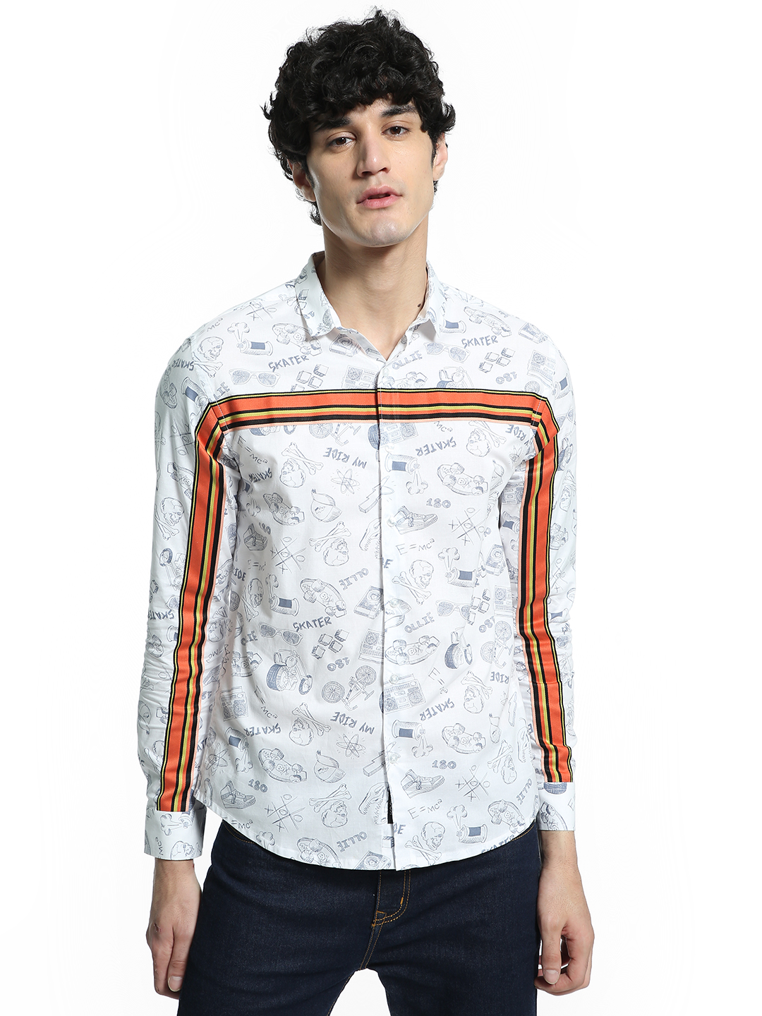 KOOVS White Skate Sticker Print Shirt 1