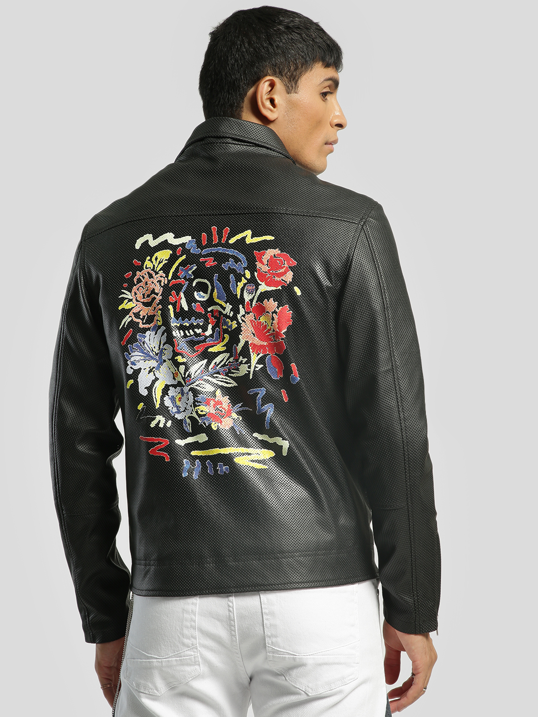 KOOVS Black Perforated Graffiti Print Biker Jacket 1